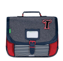 Cartable garçon Tann's CP 35cm Teddy 35231 Gris chiné / Rouge