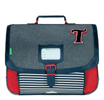 Cartable garçon 38cm Tann's Teddy 38131 Gris chiné / Rouge