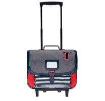 Cartable roulettes 38cm Tann's Teddy 42131 Gris Chiné / Rouge
