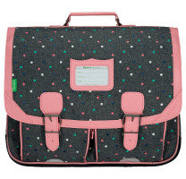 Cartable à pois 41cm Tann's Lou 41133 Gris chiné / Rose