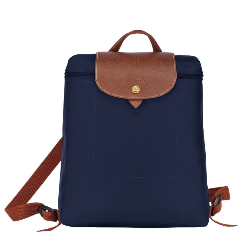 Sac à dos Longchamp Le Pliage L1699089 couleur navy vue de face