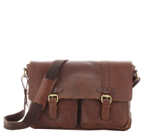 Porte documents en cuir Gianni Conti 4002391COG couleur cognac vue de face.