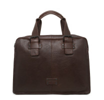 Sac business Gianni Conti homme en cuir marron (1131411 DARK BROWN) de face