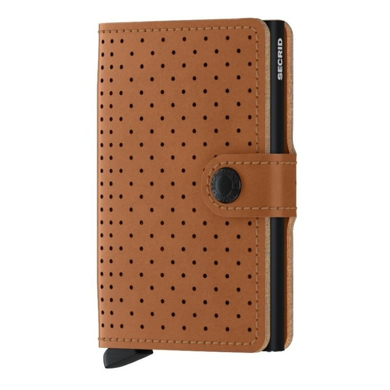 Porte-cartes cuir perforé Secrid Miniwallet Perforated MPF Cognac